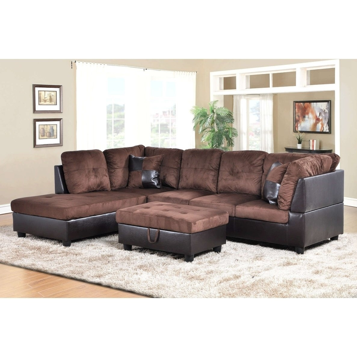 Shop Golden Coast Furniture 3 Piece Microfiber Leather Sofa Throughout Karen 3 Piece Sectionals (Image 19 of 25)