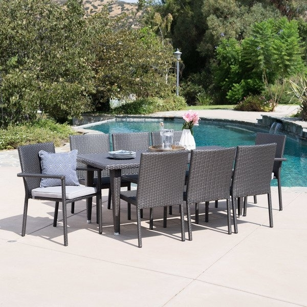 Shop Grady Outdoor 9 Piece Rectangular Wicker Dining Set With Inside Grady 5 Piece Round Dining Sets (View 6 of 25)
