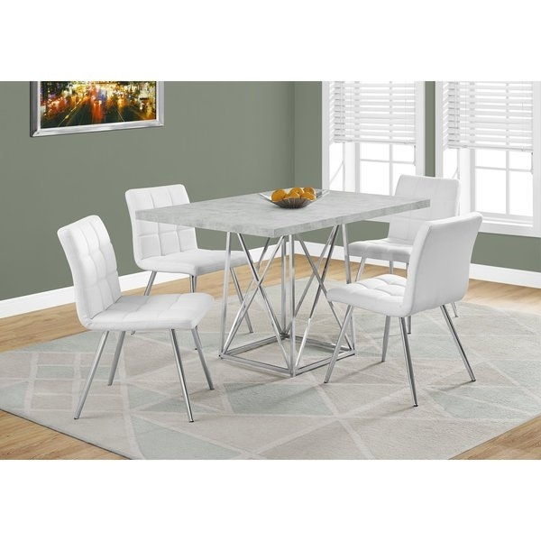 Shop Grey Cement And Chrome Dining Table – Free Shipping Today In Chrome Dining Room Sets (Image 22 of 25)