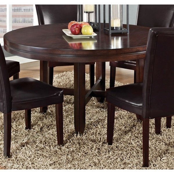 Shop Greyson Living Hampton Dark Brown Cherry 62 Inch Round Dining Regarding Dark Round Dining Tables (Image 24 of 25)