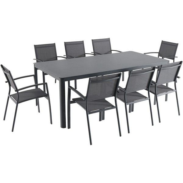 Shop Hanover Fresno 9 Piece Outdoor Dining Set With 8 Sling Arm In Grady 5 Piece Round Dining Sets (Image 21 of 25)