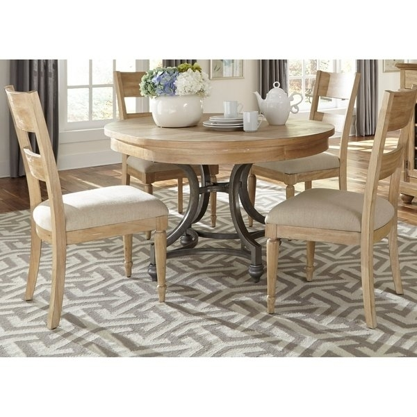 Shop Harbor View Sand 5 Piece Round Table Set – On Sale – Free With Jaxon 5 Piece Extension Counter Sets With Fabric Stools (View 8 of 25)