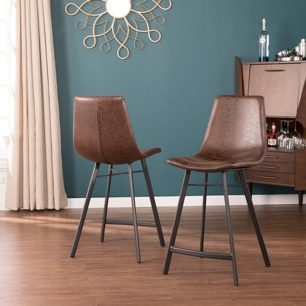 Shop Harper Blvd Legeaux Aged Caramel With Black Counter Stools 2Pc With Harper 5 Piece Counter Sets (Image 20 of 25)