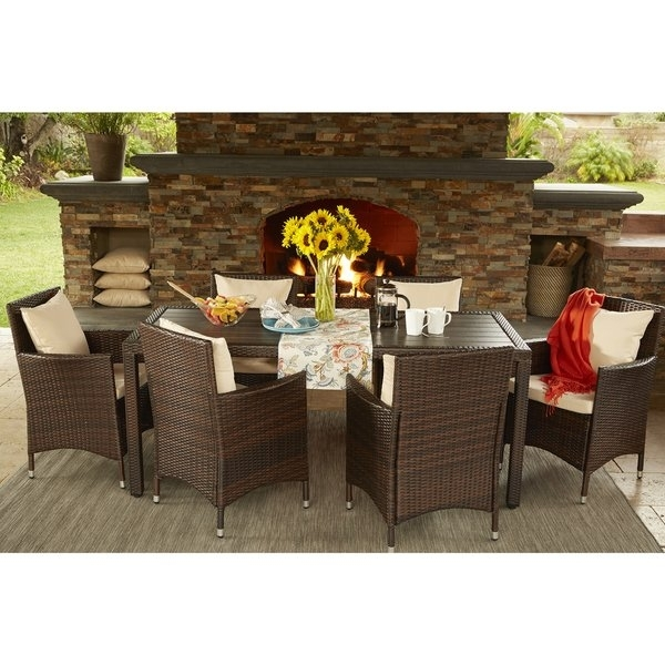 Shop Havenside Home Stillwater Brown Indoor/ Outdoor 7 Piece With Regard To Crawford 7 Piece Rectangle Dining Sets (View 12 of 25)