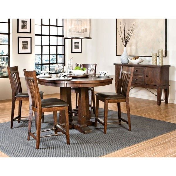 "Shop Hayden Rough Sawn Espresso 54"" Round Gathering Table – Free With Hayden Dining Tables (Image 23 of 25)"