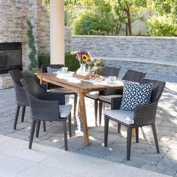 Shop Hemlock Outdoor 7 Piece Rectangle Wicker Wood Dining Set With For Crawford 7 Piece Rectangle Dining Sets (View 10 of 25)