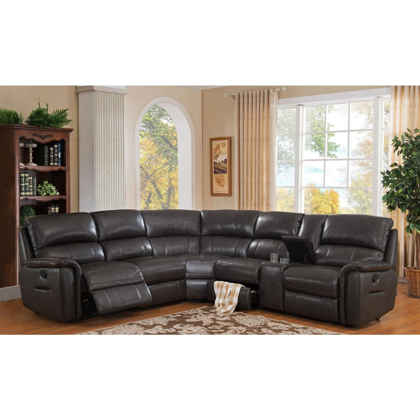 Shop Hydelineamax Camino Charcoal Grey Leather Reclining Throughout Kristen Silver Grey 6 Piece Power Reclining Sectionals (Image 18 of 25)