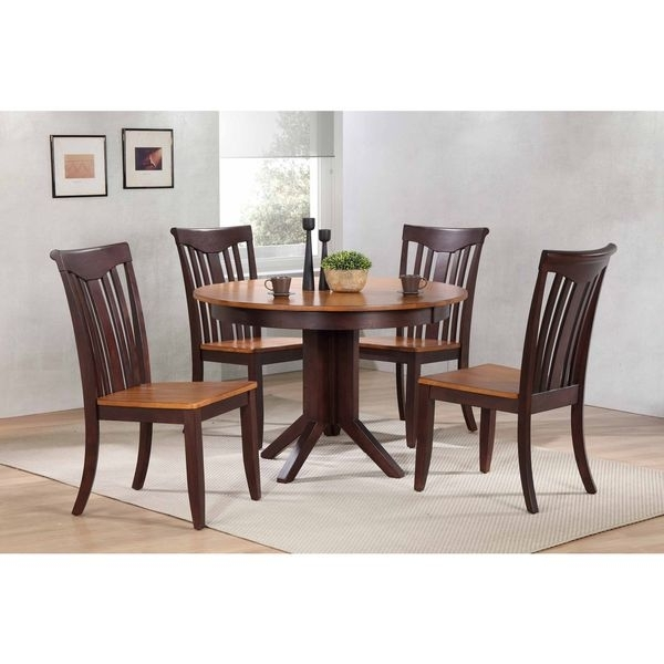 """Shop Iconic Furniture Company 45""""x45""""x63"""" Contemporary Whiskey/mocha Within Caden 5 Piece Round Dining Sets With Upholstered Side Chairs (View 9 of 25)"""