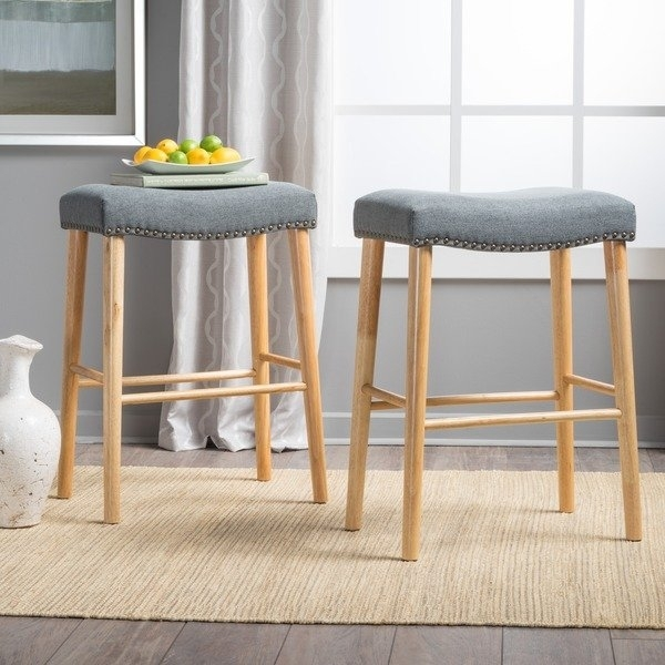Shop Jaxon 30 Inchstudded Fabric Barstool (Set Of 2)Christopher Regarding Jaxon 7 Piece Rectangle Dining Sets With Wood Chairs (View 22 of 25)