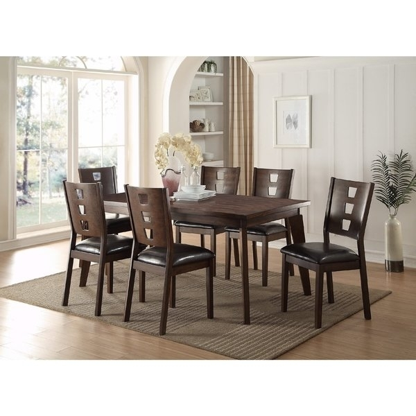 Shop Joey 7 Piece Dining Set – Free Shipping Today – Overstock Pertaining To Caira Black 5 Piece Round Dining Sets With Upholstered Side Chairs (Image 19 of 25)