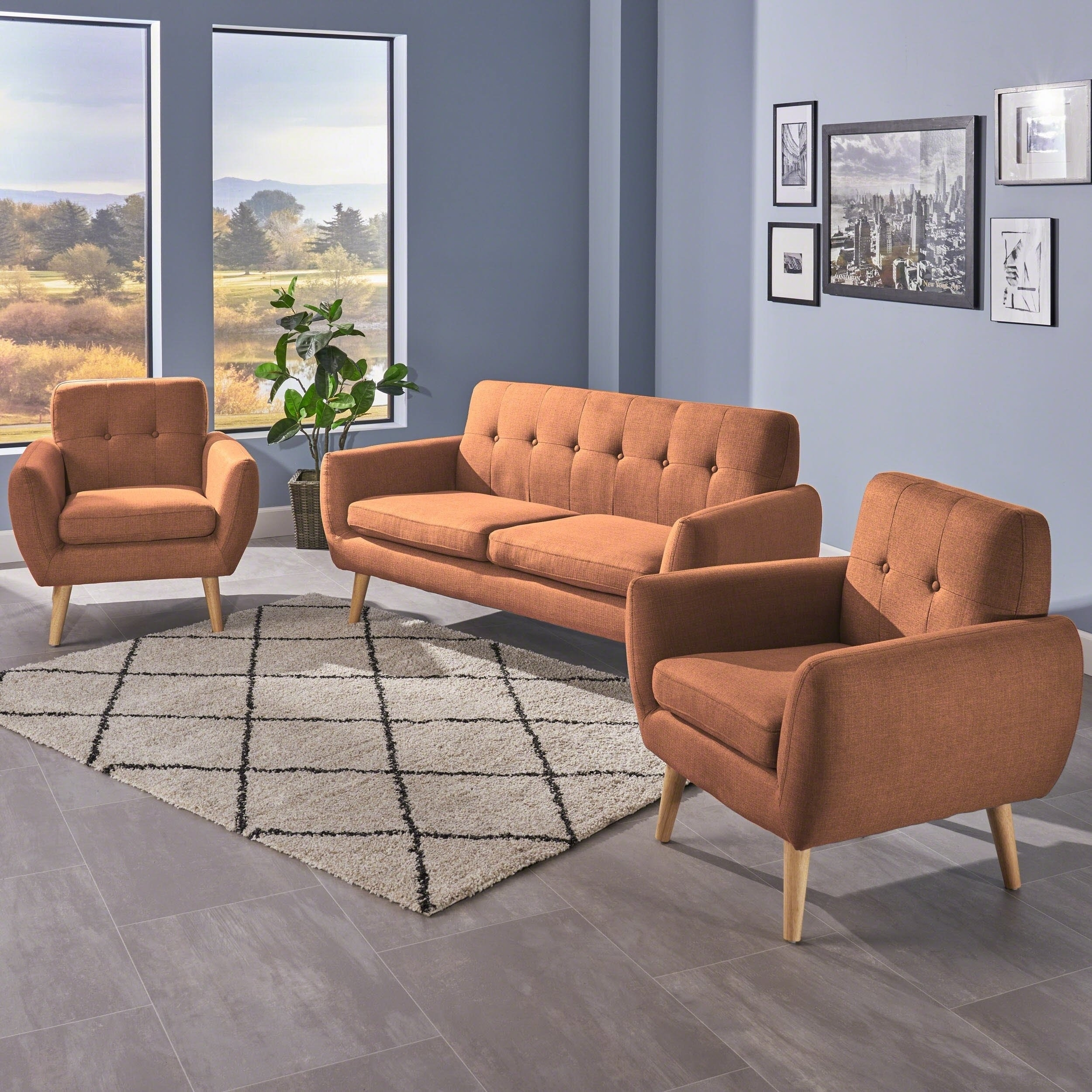 Shop Josephine Mid Century Modern 3 Piece Petite Fabric Chat Set With Regard To Josephine 2 Piece Sectionals With Raf Sofa (Image 22 of 25)