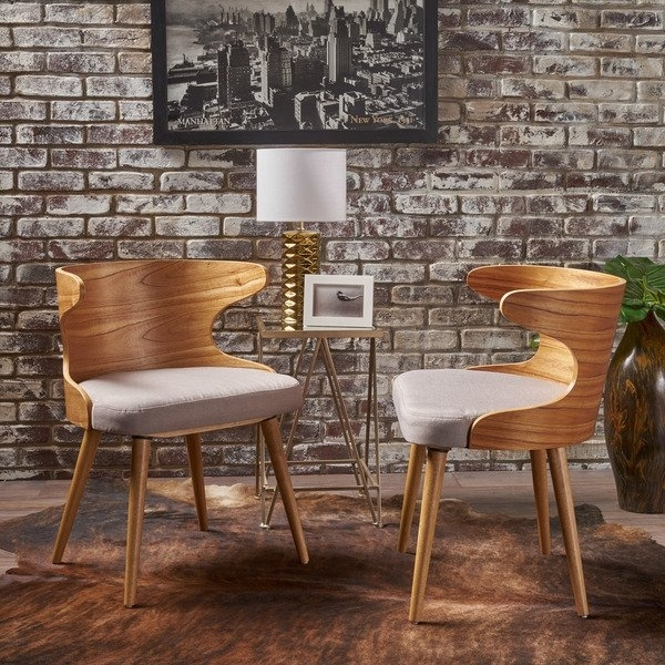 Shop Kaden Mid Century Fabric Dining Chair (Set Of 2)Christopher Intended For Caden 7 Piece Dining Sets With Upholstered Side Chair (View 25 of 25)