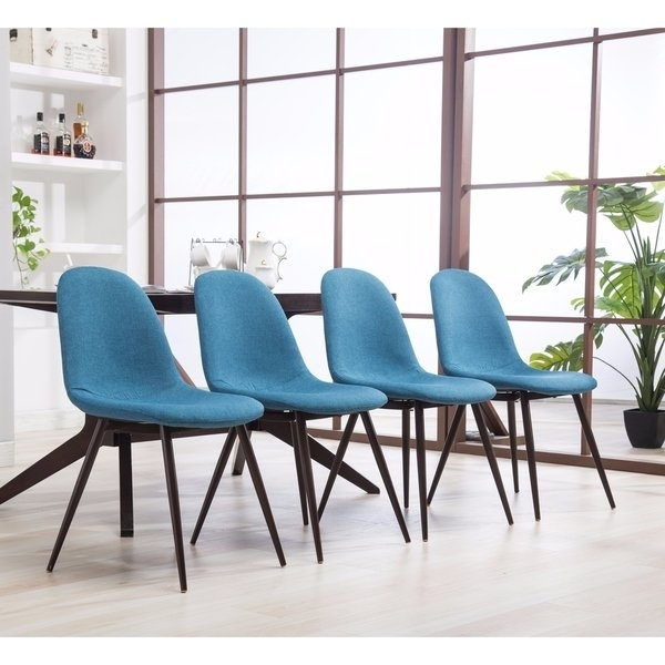 Shop Lassan Modern Contemporary Blue Fabric Dining Chairs, Set Of 4 With Regard To Caden 7 Piece Dining Sets With Upholstered Side Chair (Image 22 of 25)