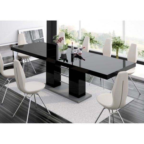 Shop Linosa High Gloss Dining Table With Extension – Black – Free Intended For High Gloss Dining Room Furniture (Image 19 of 25)