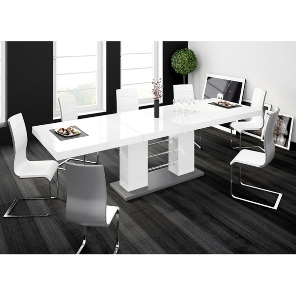 Shop Linosa High Gloss Dining Table With Extension – White – Free Regarding Black Gloss Dining Furniture (Image 21 of 25)