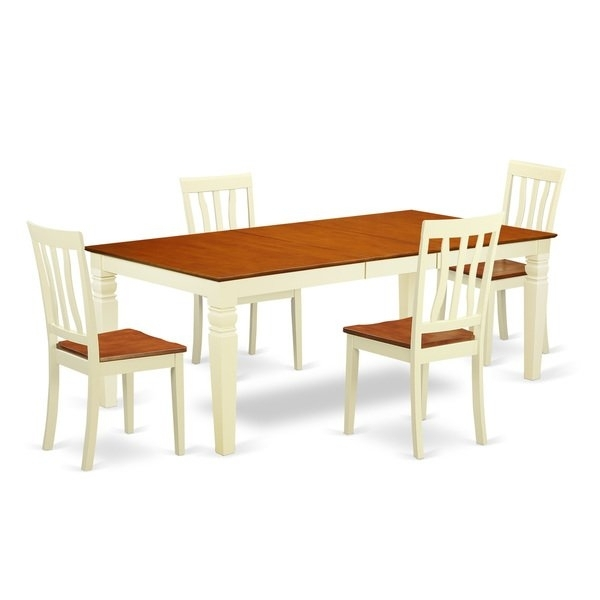 Shop Logan Extendable Buttermilk And Cherry Dining Table Set (5 9 In Logan Dining Tables (Image 19 of 25)