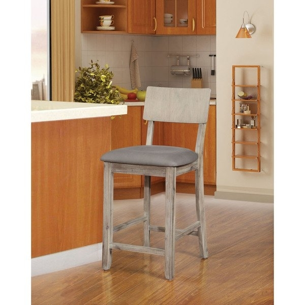 Shop Loren Gray Wash Counter Stool – On Sale – Free Shipping Today With Laurent 7 Piece Counter Sets With Upholstered Counterstools (Image 15 of 25)