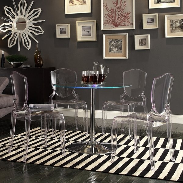 Shop Lorin Led Round Crystal Clear 5 Piece Dining Setinspire Q With Regard To Crystal Dining Tables (View 9 of 25)