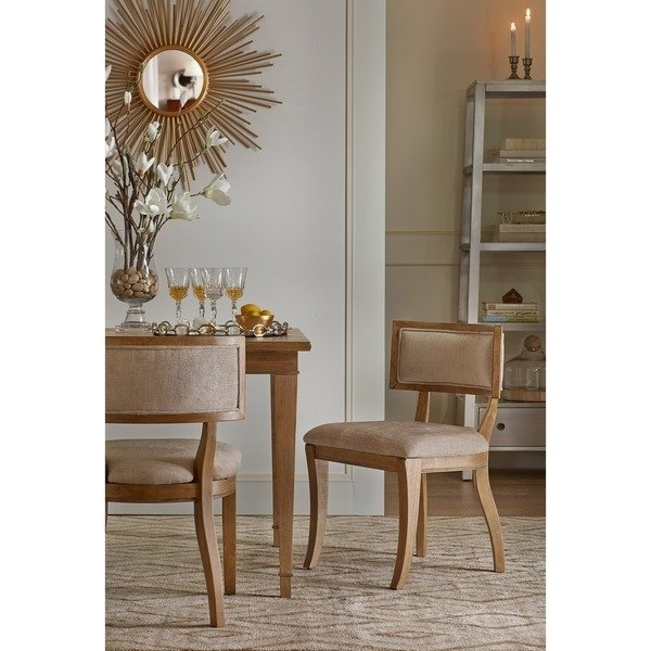Shop Madison Park Signature Marie Beige/ Light Natural Dining Chair Pertaining To Valencia 5 Piece Round Dining Sets With Uph Seat Side Chairs (Image 21 of 25)