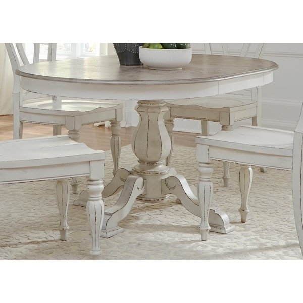 Shop Magnolia Manor Antique White Pedestal Table – Antique White Within Magnolia Home Breakfast Round Black Dining Tables (View 19 of 25)