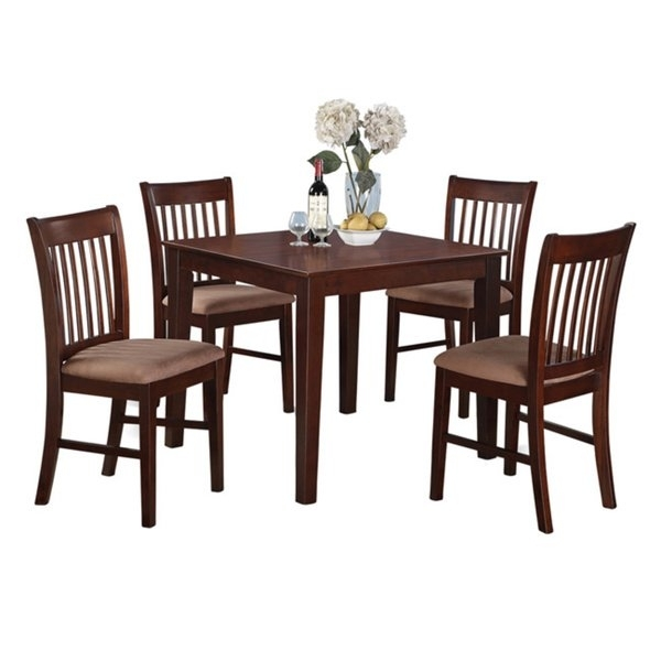 Shop Mahogany Square Table And 4 Chairs 5 Piece Dining Set – Free Intended For Mahogany Dining Tables And 4 Chairs (View 10 of 25)