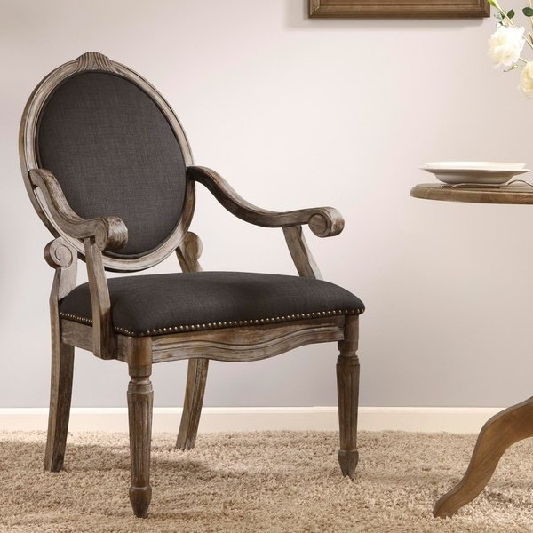 Shop Maison Rouge Brentwood Grey Dining Armchair – Free Shipping With Regard To Caira Black 7 Piece Dining Sets With Arm Chairs & Diamond Back Chairs (Image 20 of 25)