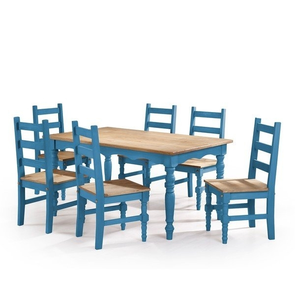 Shop Manhattan Comfort Jay 7 Piece Solid Wood Dining Set With 6 In Helms 7 Piece Rectangle Dining Sets With Side Chairs (View 3 of 25)