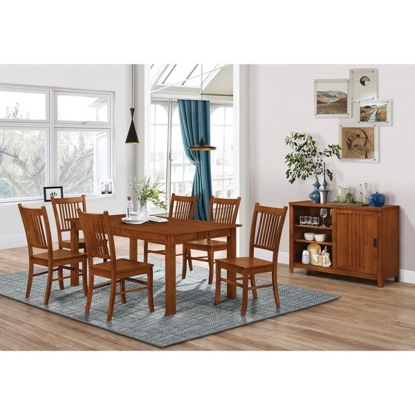 Shop Marbrisa Mission Oak 7 Piece Dining Set – Free Shipping Today Intended For Craftsman 7 Piece Rectangular Extension Dining Sets With Arm & Uph Side Chairs (Image 21 of 25)