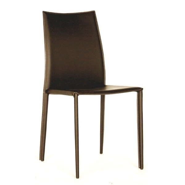 Shop Modern Brown Faux Leather Dining Chair 2 Piece Setbaxton Inside Brown Leather Dining Chairs (Image 23 of 25)