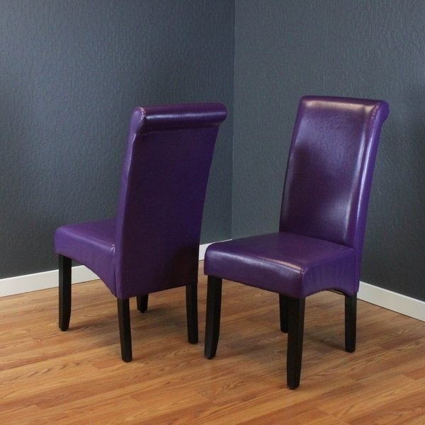 Shop Monsoon Milan Boysenberry Faux Leather, Foam, And Espresso Intended For Purple Faux Leather Dining Chairs (View 8 of 25)