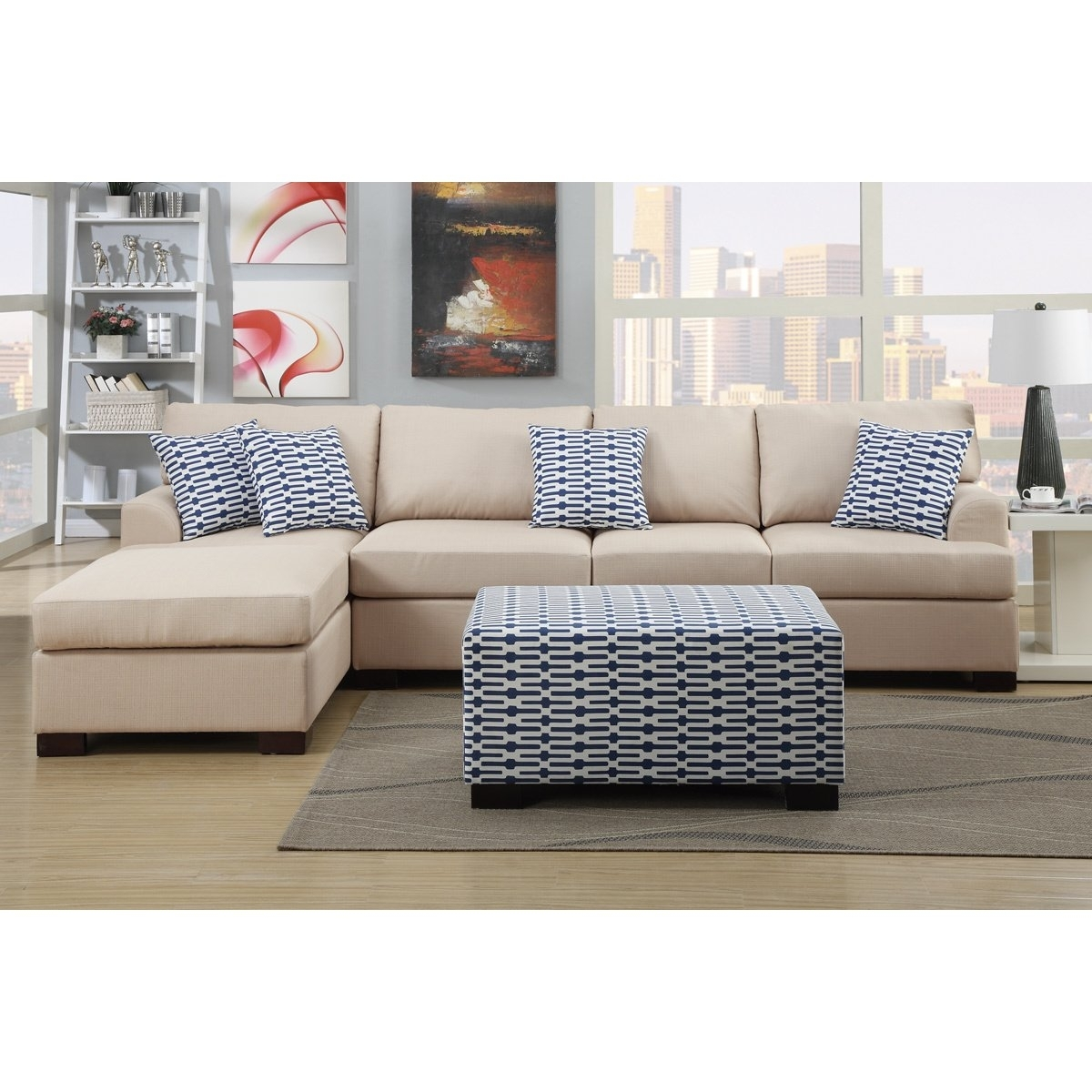 Shop Moss Large 2 Piece Blended Linen Sectional Sofa With Matching With Regard To Adeline 3 Piece Sectionals (Image 23 of 25)
