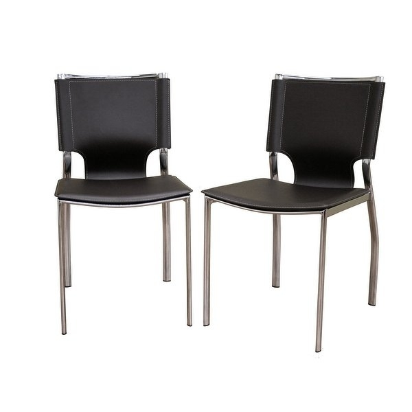 Shop Mousses Leather Dining Chair With Chrome Frame Dark Brown Within Chrome Leather Dining Chairs (Image 24 of 25)