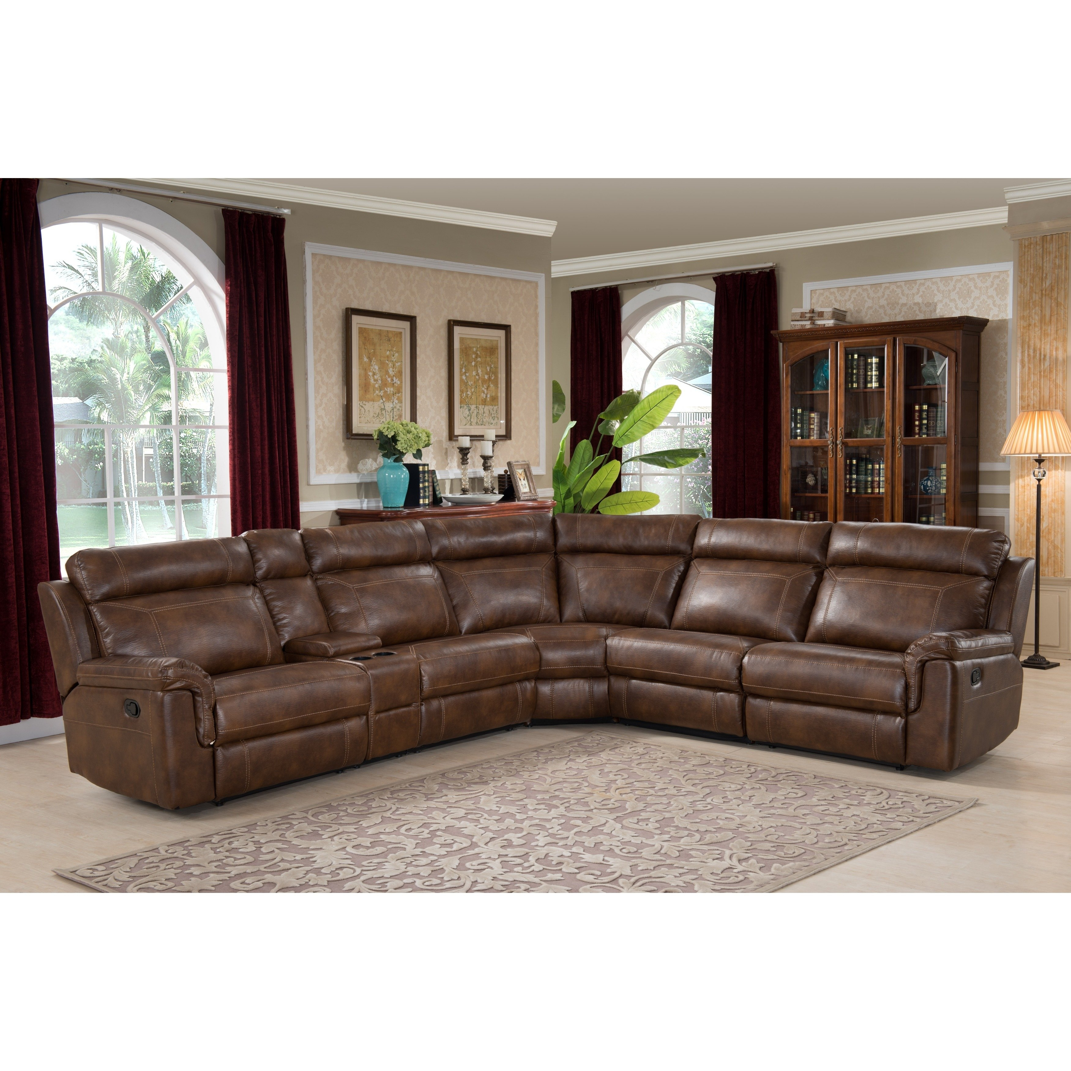 Shop Nicole Brown Large 6 Piece Family Sectional With 3 Recliners With Regard To Harper Down 3 Piece Sectionals (Image 22 of 25)