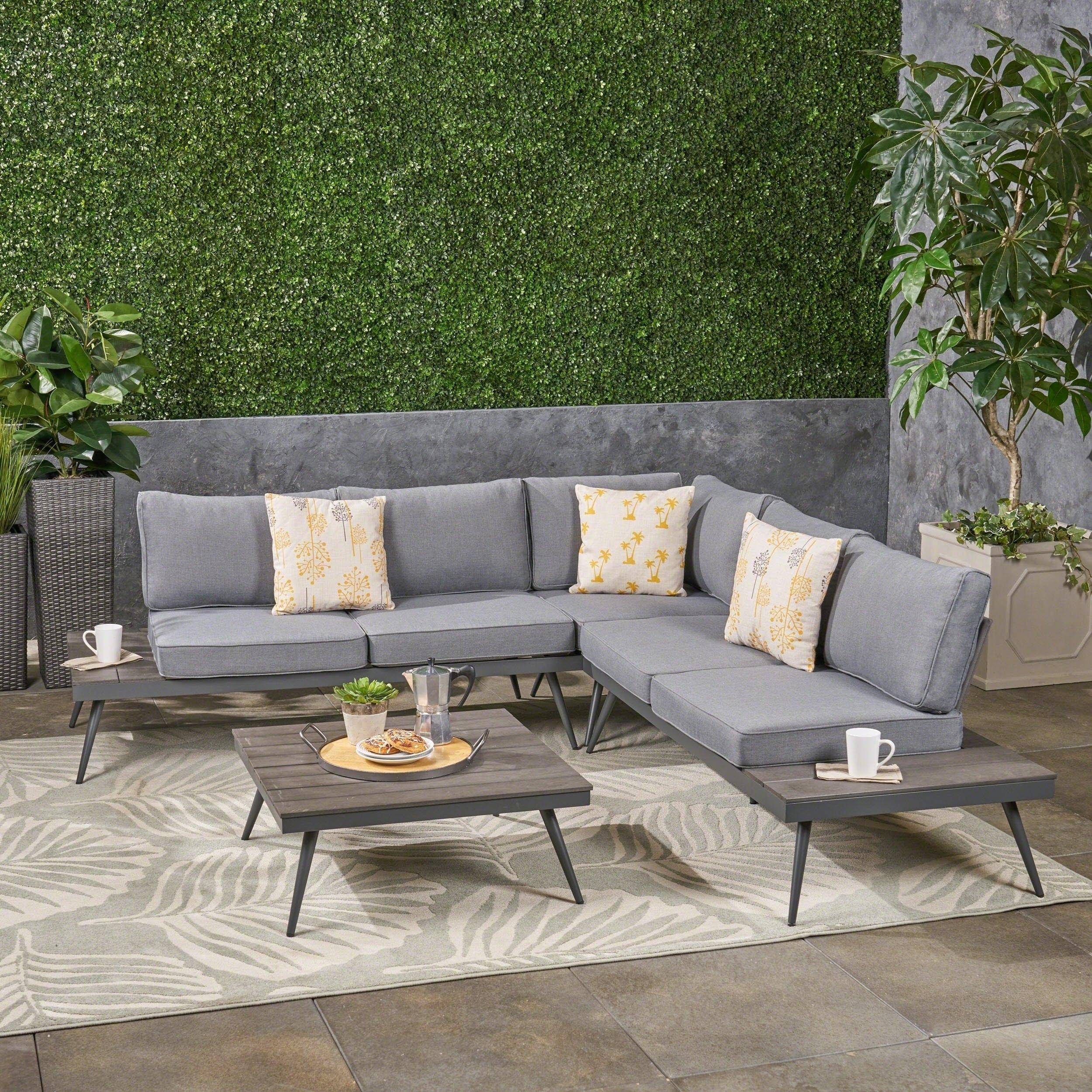 Shop Norfolk Outdoor V Shaped 5 Seater Sofa Setchristopher Inside Norfolk Grey 6 Piece Sectionals (Image 22 of 25)