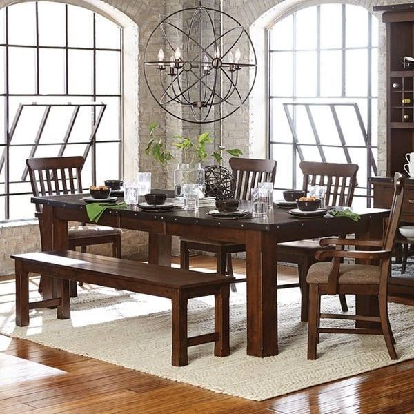Shop Norwood Antique Oak Finish Extending Table Dining Set – Free Throughout Norwood 7 Piece Rectangular Extension Dining Sets With Bench & Uph Side Chairs (Image 21 of 25)