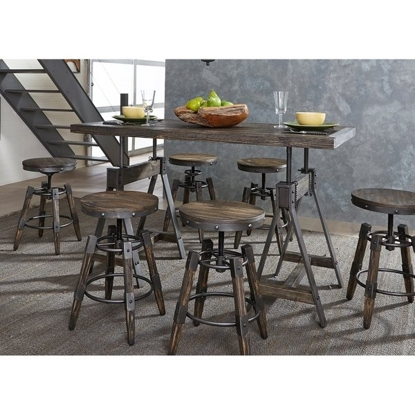 Shop Pineville Charcoal Saw Mark Distressed Adjustable 5 Piece Inside Grady 5 Piece Round Dining Sets (Image 22 of 25)