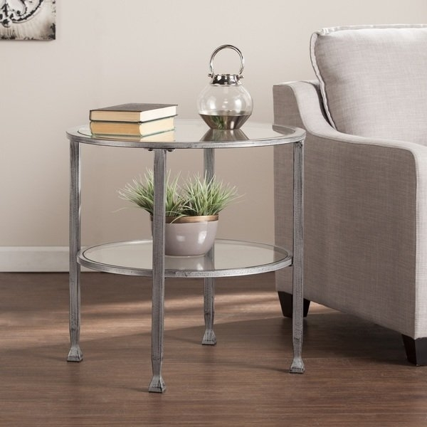 Shop Porch & Den Rino Brighton Silver Metal Round End Table – On Regarding Ina Pewter 60 Inch Counter Tables With Frosted Glass (View 4 of 25)