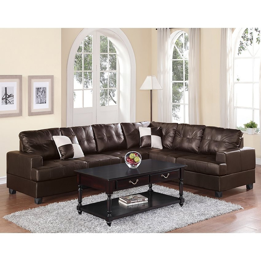 Shop Poundex Karen Casual Espresso Faux Leather Sectional At Lowes Pertaining To Karen 3 Piece Sectionals (Image 22 of 25)