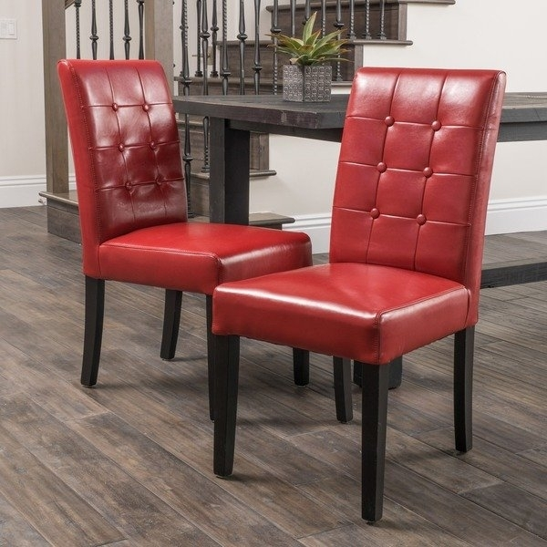 Shop Roland Red Bonded Leather Dining Chairschristopher Knight Intended For Red Leather Dining Chairs (View 5 of 25)
