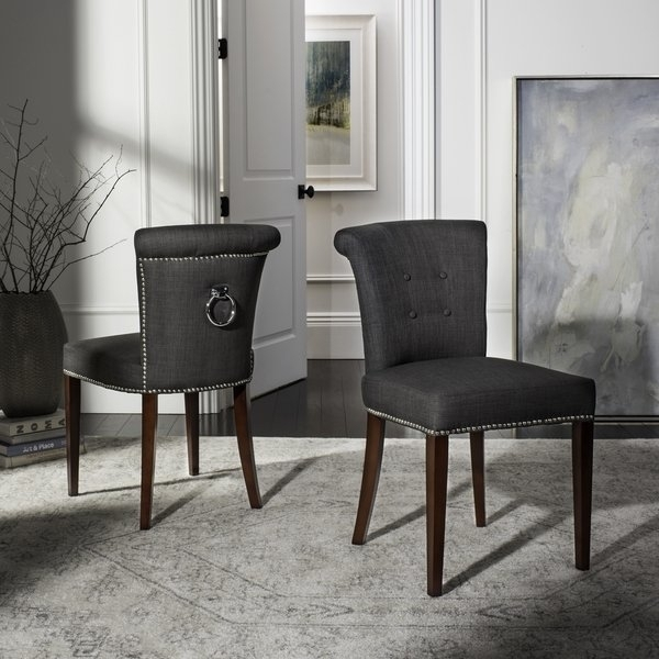 Shop Safavieh En Vogue Dining Carrie Charcoal Grey Dining Chairs For Grey Dining Chairs (View 12 of 25)