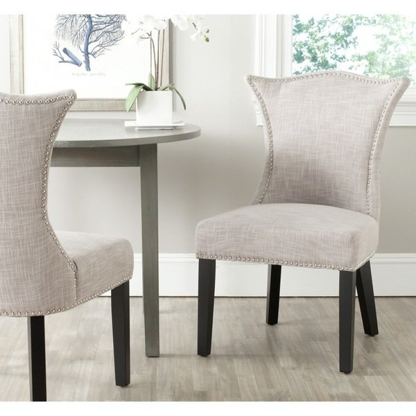 Shop Safavieh En Vogue Dining Ciara Grey Dining Chairs (Set Of 2 In Caira Black 5 Piece Round Dining Sets With Upholstered Side Chairs (Image 20 of 25)