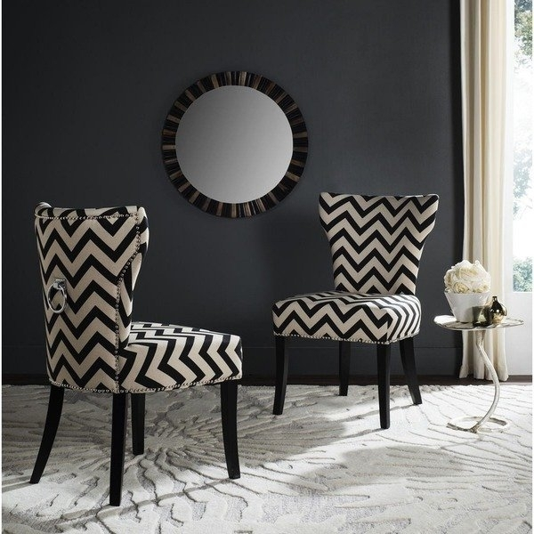 Shop Safavieh En Vogue Dining Jappic Chevron Black/white Ring Dining In Caira Black 7 Piece Dining Sets With Upholstered Side Chairs (Image 24 of 25)