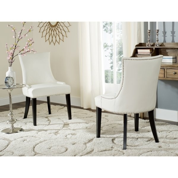 Shop Safavieh En Vogue Dining Lester White Leather Dining Chairs Inside White Leather Dining Chairs (Image 17 of 25)