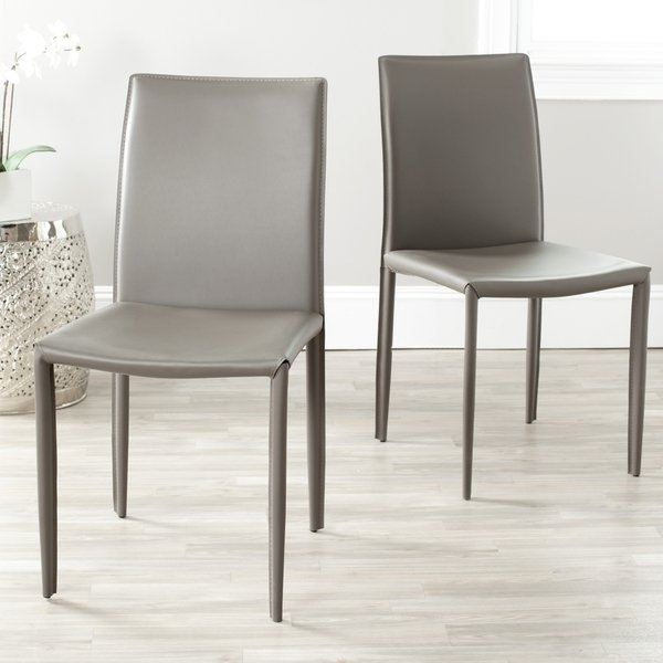 Shop Safavieh Mid Century Dining Jazzy Bonded Leather Grey Dining With Real Leather Dining Chairs (Image 21 of 25)