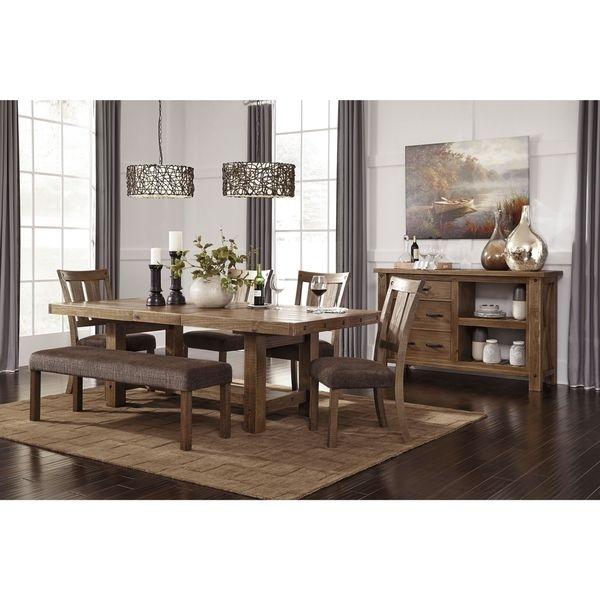 Shop Signature Designashley Tamilo Gray/brown Rectangle Regarding Parquet 7 Piece Dining Sets (Image 23 of 25)