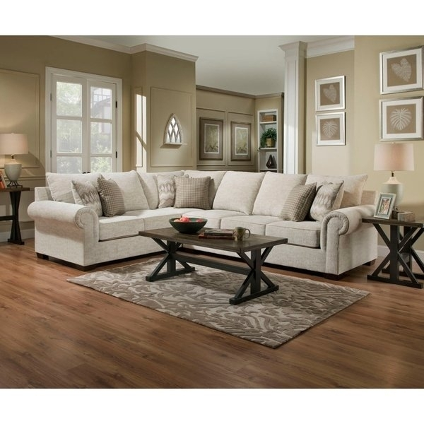 Shop Simmons Upholstery Gavin Linen Sectional – Free Shipping Today Pertaining To Gavin 6 Piece Dining Sets With Clint Side Chairs (View 5 of 25)