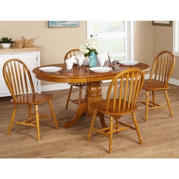 Shop Simple Living Farmhouse 5 Or 7 Piece Oak Dining Set – Free Pertaining To Oak Dining Sets (View 5 of 25)