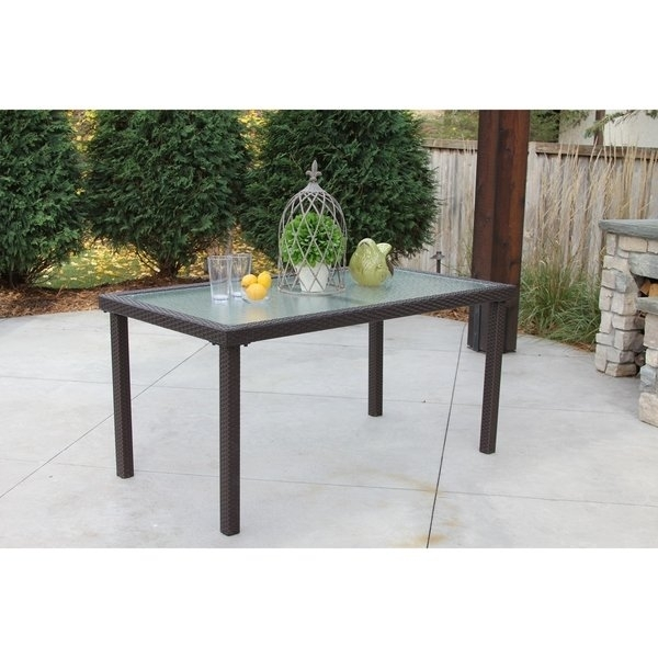 Shop Single Rectangular Brown Wicker Dining Table W/ Rec'd Glass For Wicker And Glass Dining Tables (Image 18 of 25)