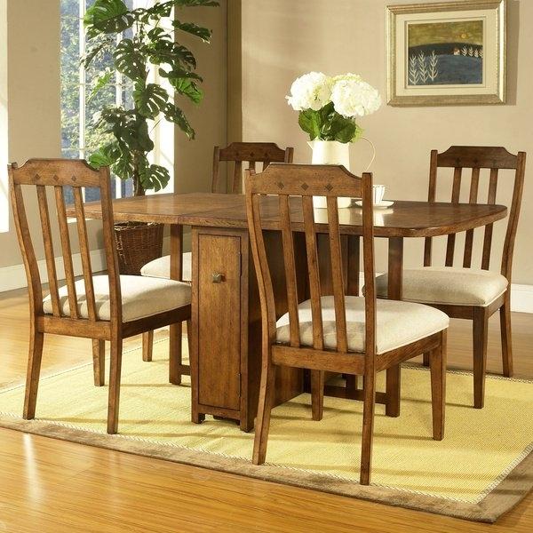 Shop Somerton Dwelling Craftsman 5 Piece Gate Leg Dining Set – Free Regarding Craftsman 7 Piece Rectangle Extension Dining Sets With Arm & Side Chairs (Image 22 of 25)