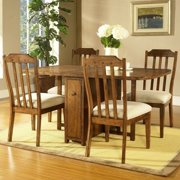 Shop Somerton Dwelling Craftsman 5 Piece Gate Leg Dining Set – Free With Regard To Craftsman 7 Piece Rectangular Extension Dining Sets With Arm & Uph Side Chairs (Image 22 of 25)